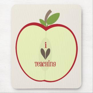 "Red Apple Half Teacher ""I Love Teaching"" Mouse Pad"