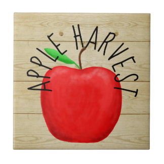 Red Apple Harvest Wooden Sign Ceramic Tile
