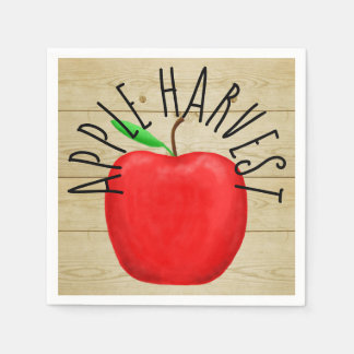 Red Apple Harvest Wooden Sign Paper Napkins