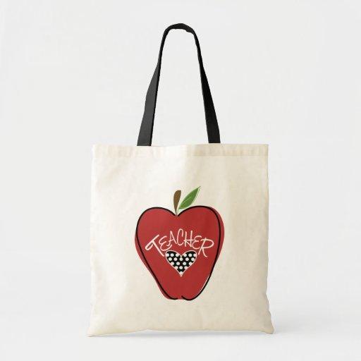 Red Apple & Heart Teacher Bag