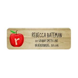 Red Apple Monogram Address Return Address Label