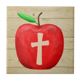 Red Apple Monogram Ceramic Tile