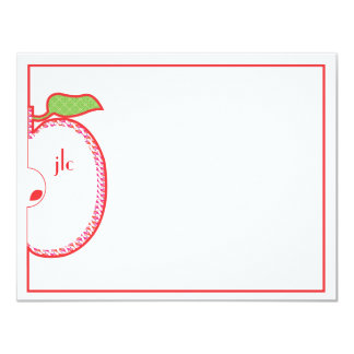 "Red Apple Monogram Flat Note Card 4.25"" X 5.5"" Invitation Card"