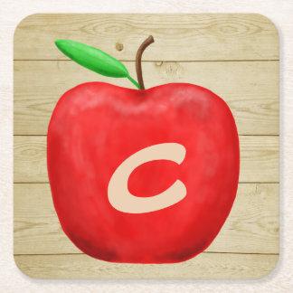 Red Apple Monogram Square Paper Coaster