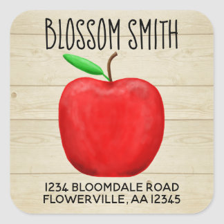 Red Apple Name & Address Sticker