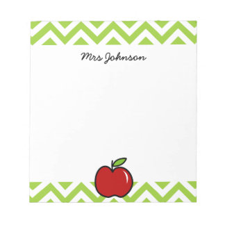 Red apple notepad for teacher | Personalized name