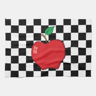Red Apple on Black and White Checkerboard Tea Towel