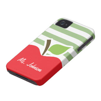 Red Apple on Laurel Green Horizontal Stripes Case-Mate iPhone 4 Case