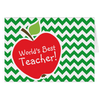 Red Apple on Retro Kelly Green Chevron Stripes Card