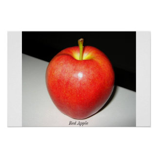 Red Apple on the white-black background. Poster