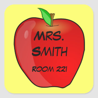 Red Apple on Yellow Teacher's Name and Room Number Square Sticker