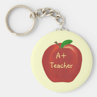 Red Apple Painting A+ Teacher key chains