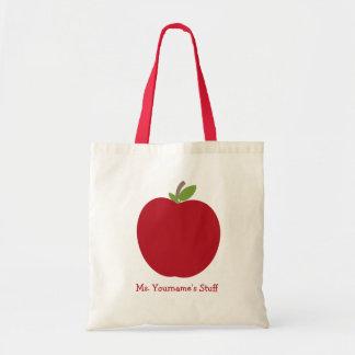 Red Apple Personalised Teacher Tote Bag