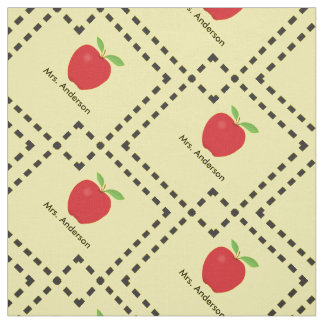 Red Apple Personalized Teacher Fabric