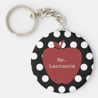 Red Apple & Polka Dot Teacher Basic Round Button Key Ring
