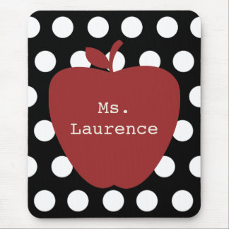 Red Apple & Polka Dot Teacher Mouse Pad