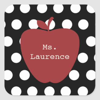 Red Apple & Polka Dot Teacher Square Sticker