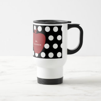 Red Apple & Polka Dot Teacher Stainless Steel Travel Mug