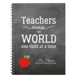 Red apple quote and your text chalkboard teacher notebook
