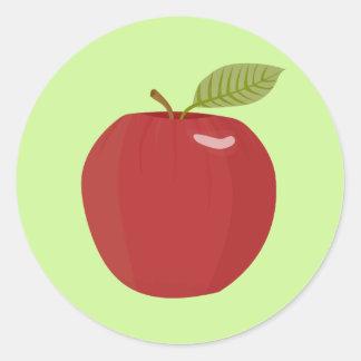 red apple round sticker