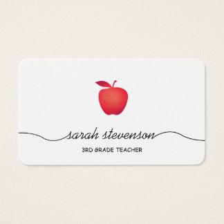 Red Apple School Elementary Teacher Simple White Business Card