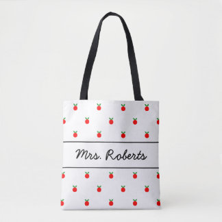 Red apple school teacher tote bag with custom name