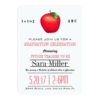 Red Apple Teacher Graduation Invitation