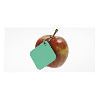 Red apple with green tag personalized photo card