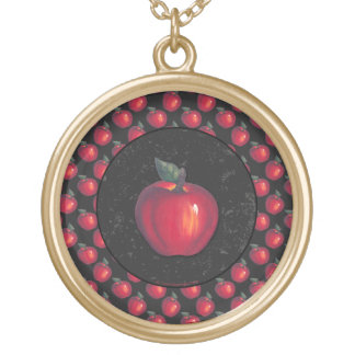 Red  Apples Black Border Gold Plated Necklace