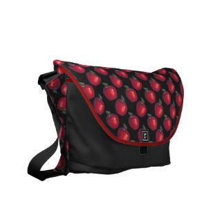 Red  Apples Black Messenger Bag
