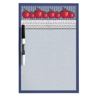 Red Apples Blue Plaid Dry-Erase Board