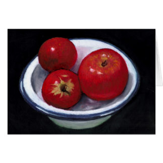 RED APPLES IN OIL PASTEL ART GREETING CARD