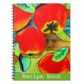 Red Apples watercolor original art Recipe book Spiral Note Book