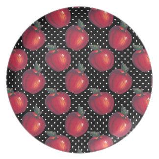 Red Apples White on Black Polka Dots Plates