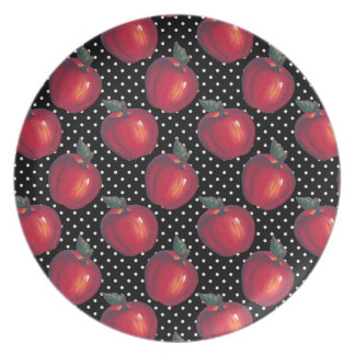 Red Apples White on Black Polka Dots Plates