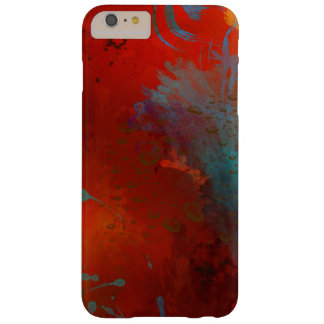 Red, Aqua & Gold Grunge Abstract Art Barely There iPhone 6 Plus Case