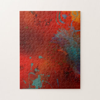 Red, Aqua & Gold Grunge Abstract Art Jigsaw Puzzle