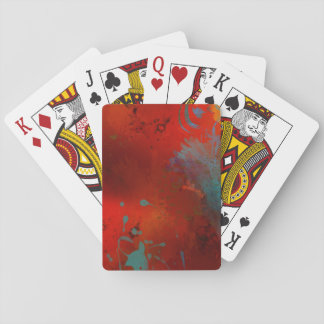 Red, Aqua & Gold Grunge Abstract Art Poker Deck