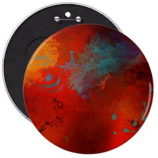 Red, Aqua & Gold Grunge Digital Abstract Art 6 Cm Round Badge