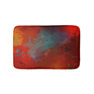 Red, Aqua & Gold Grunge Digital Abstract Art Bath Mats