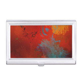 Red, Aqua & Gold Grunge Digital Abstract Art Business Card Holder