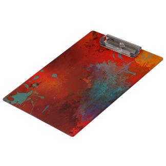 Red, Aqua & Gold Grunge Digital Abstract Art Clipboard