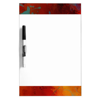 Red, Aqua & Gold Grunge Digital Abstract Art Dry Erase Whiteboards