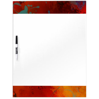 Red, Aqua & Gold Grunge Digital Abstract Art Dry-Erase Whiteboards