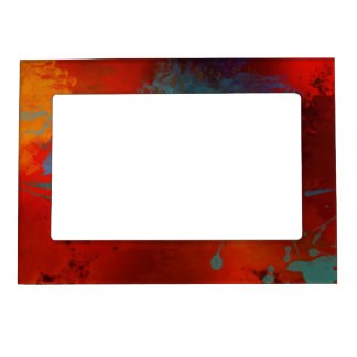 Red, Aqua & Gold Grunge Digital Abstract Art Magnetic Picture Frame