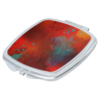 Red, Aqua & Gold Grunge Digital Abstract Art Mirror For Makeup