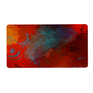Red, Aqua & Gold Grunge Digital Abstract Art Shipping Label