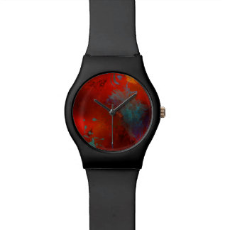 Red, Aqua & Gold Grunge Digital Abstract Art Wristwatches