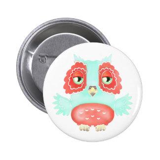 Red Aqua Owl Button