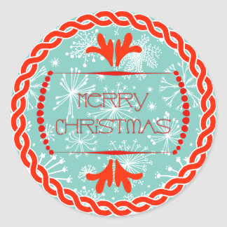 Red Aqua Snowflake Merry Christmas Label Gift Tag Stickers
